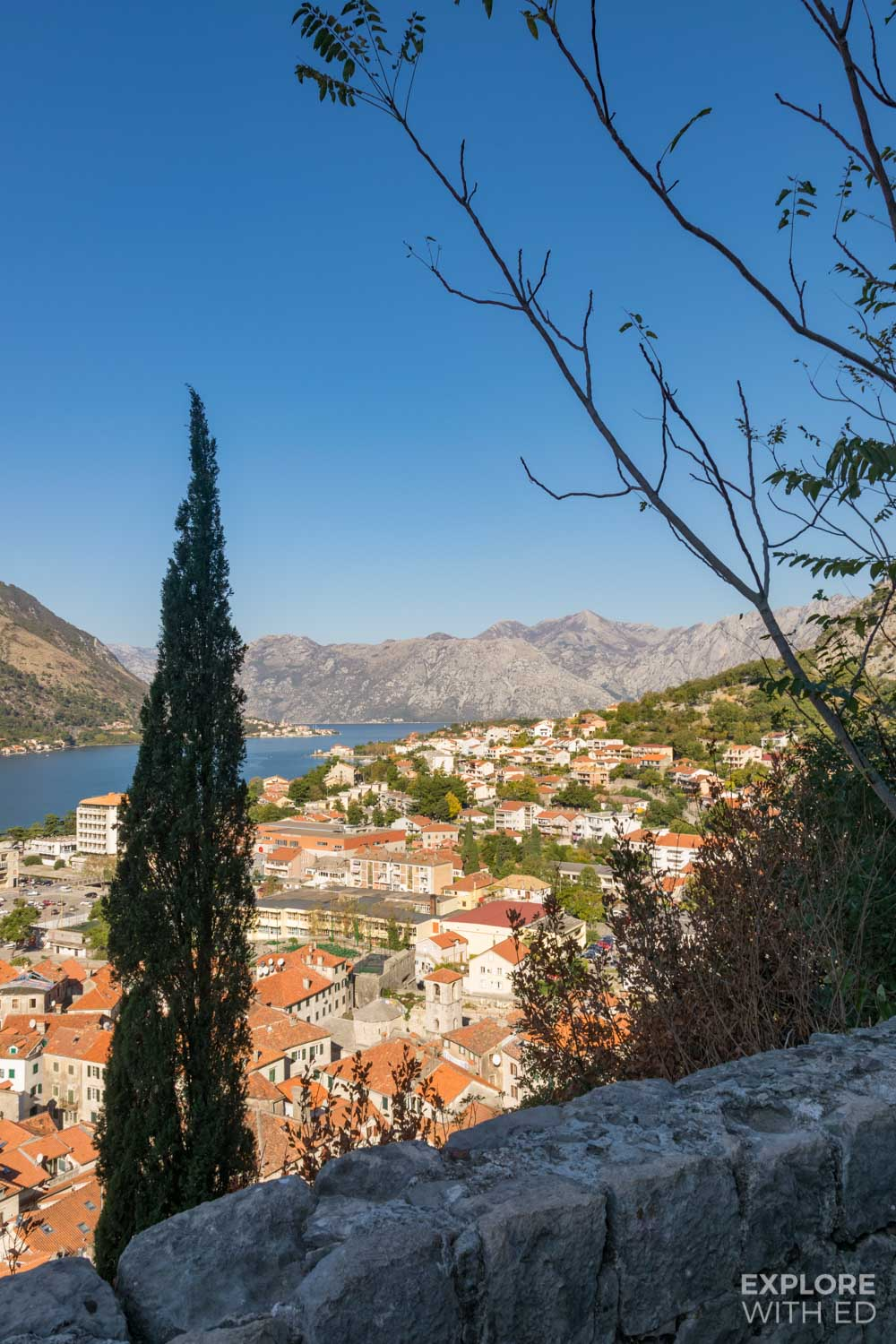 View over Kotor Bay from the hill side