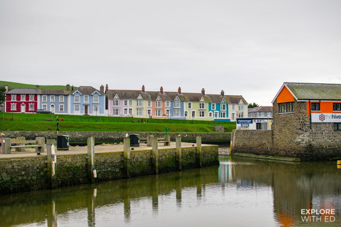 Aberaeron Harbour multi-coloured terraced houses and The Hive café