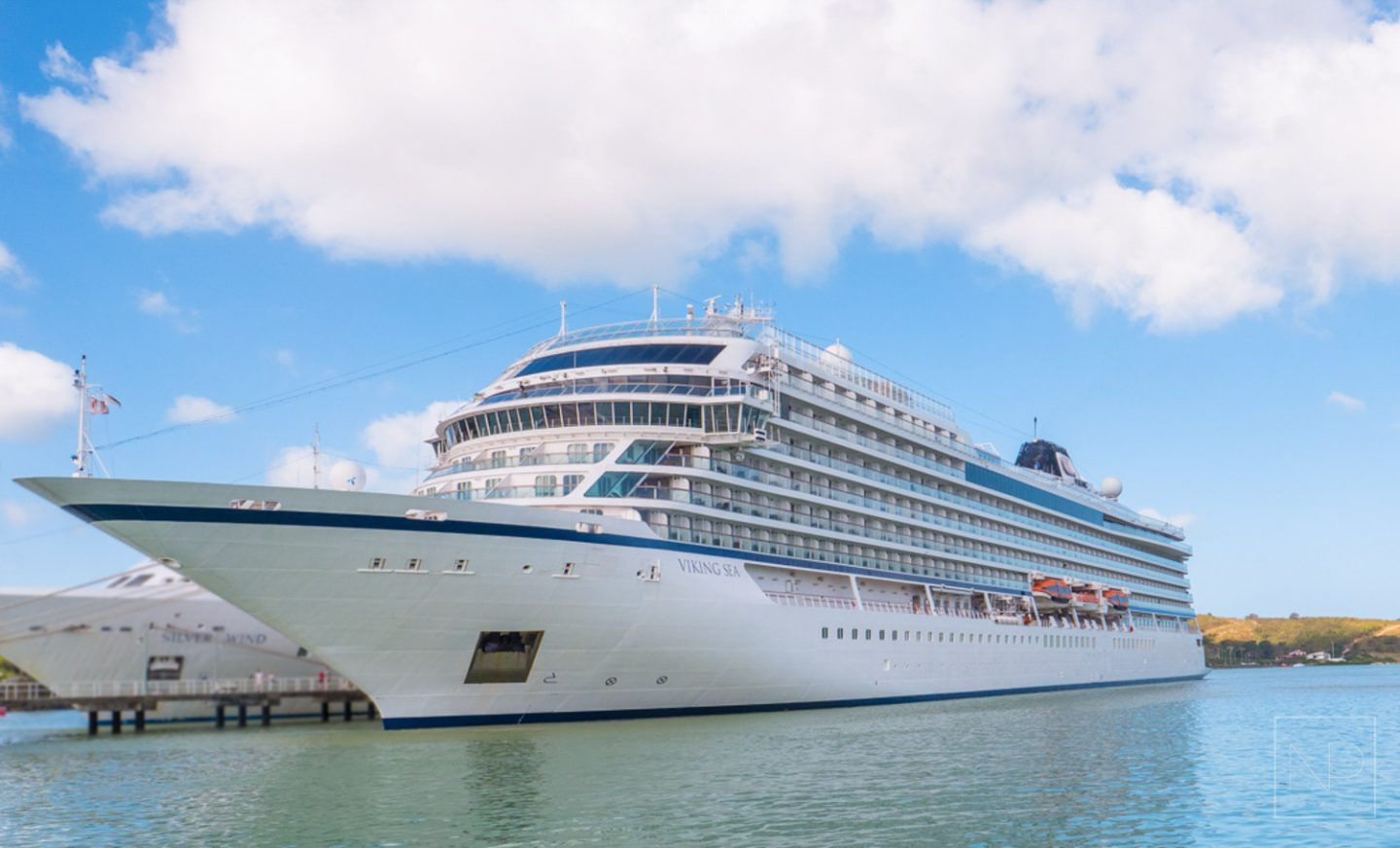 Viking Cruises, Viking Sea ship docked in The Caribbean