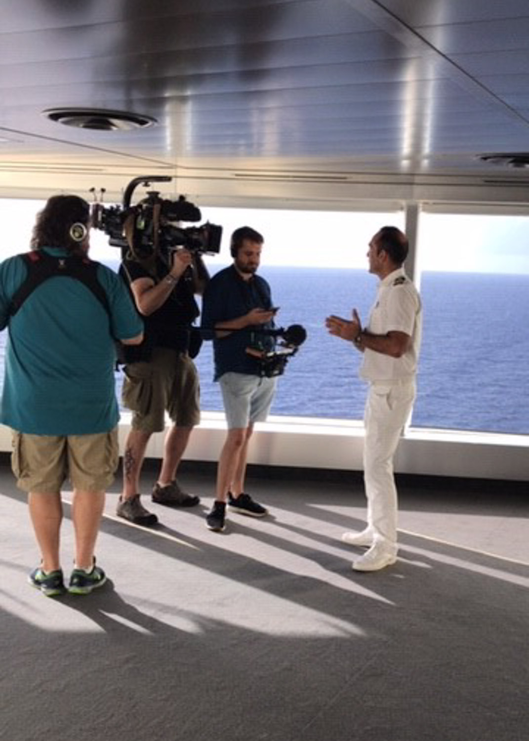 Filming a documentary onboard MSC Seaside