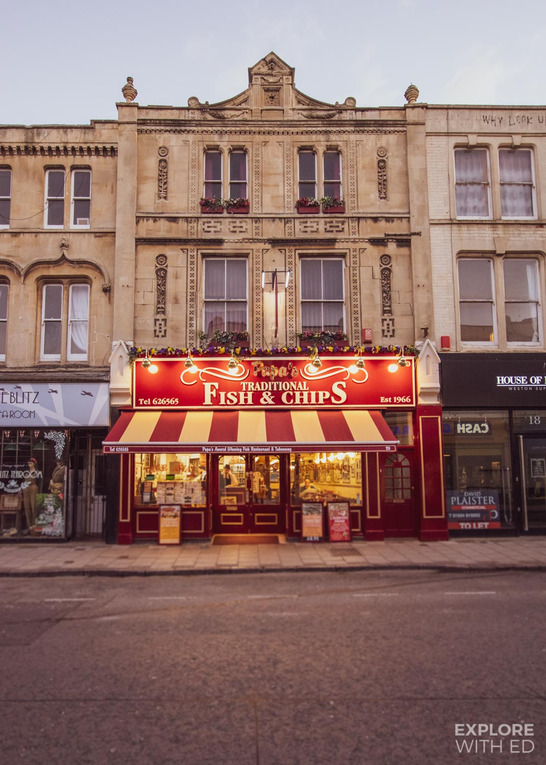 Traditional fish and chip shop in Weston-Super-Mare, England