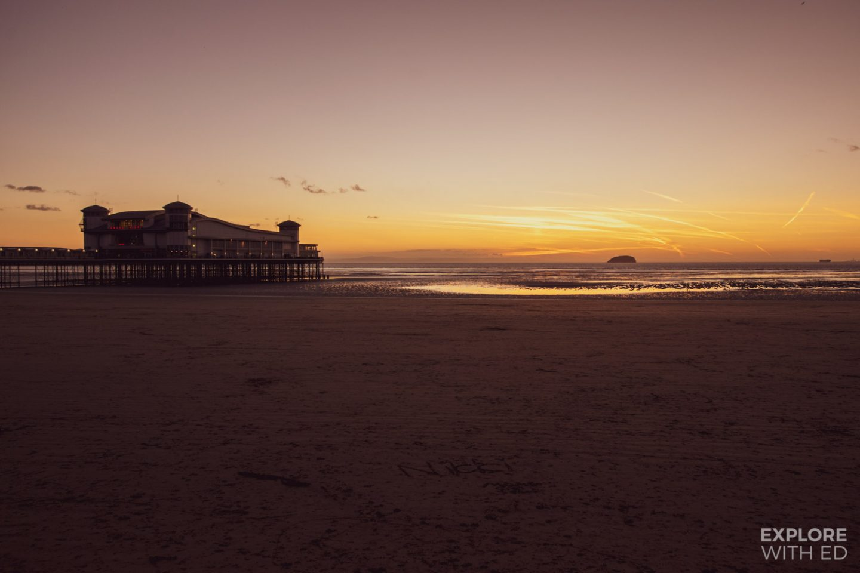 Weston-Super-Mare Pier and beach at sundown