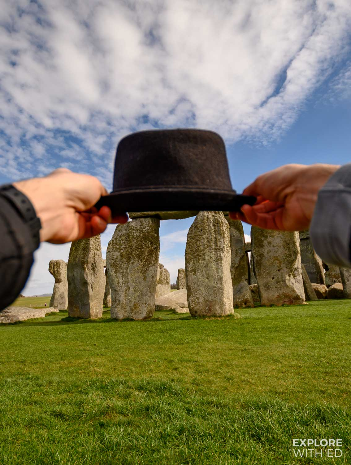 Quirky image of hat on Stonehenge