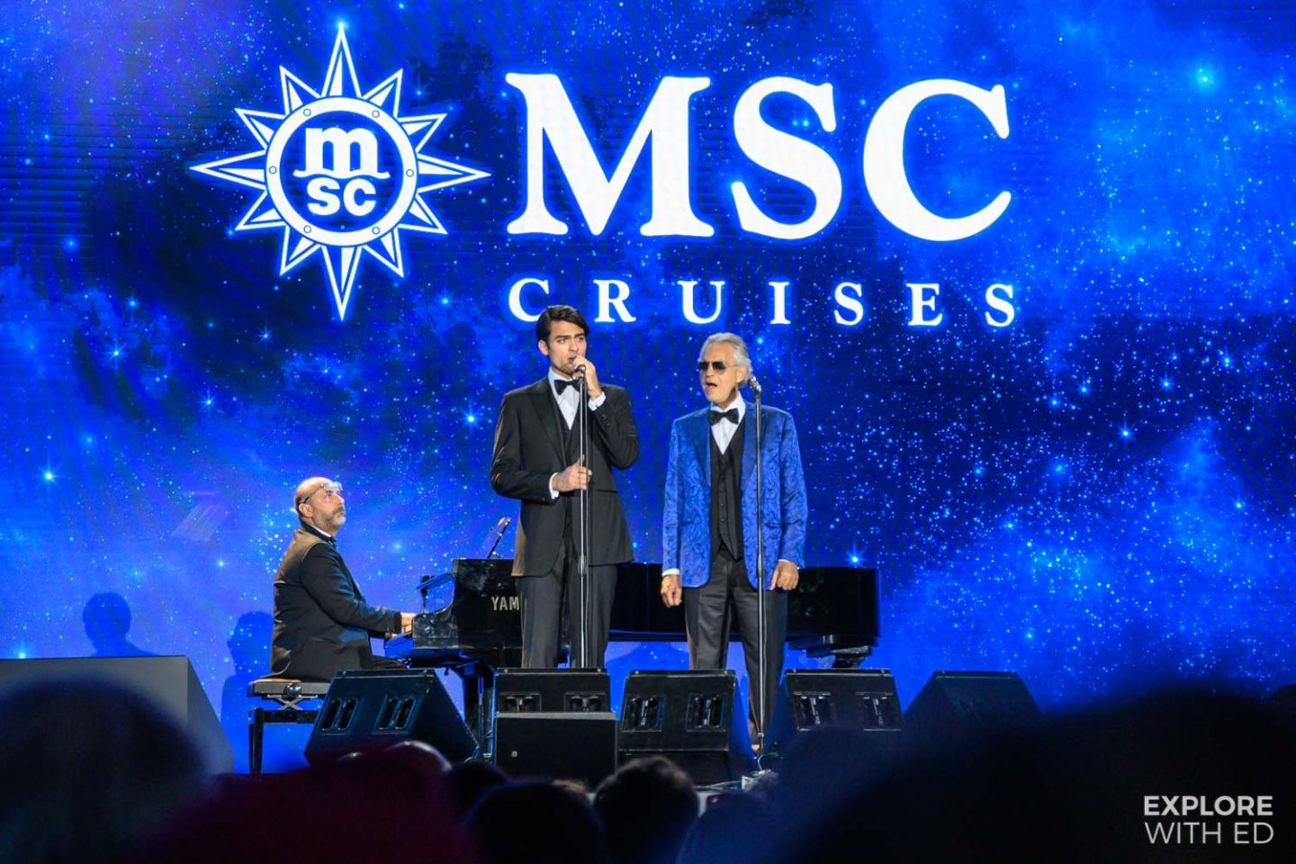 Andrea and Matteo Bocelli opening the MSC Bellissima naming ceremony in Southampton, England