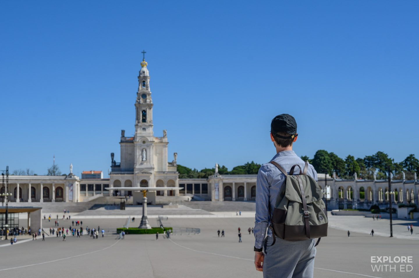 Standing in square of Fatima overlooking the sacred heart of Jesus statue and Basilica