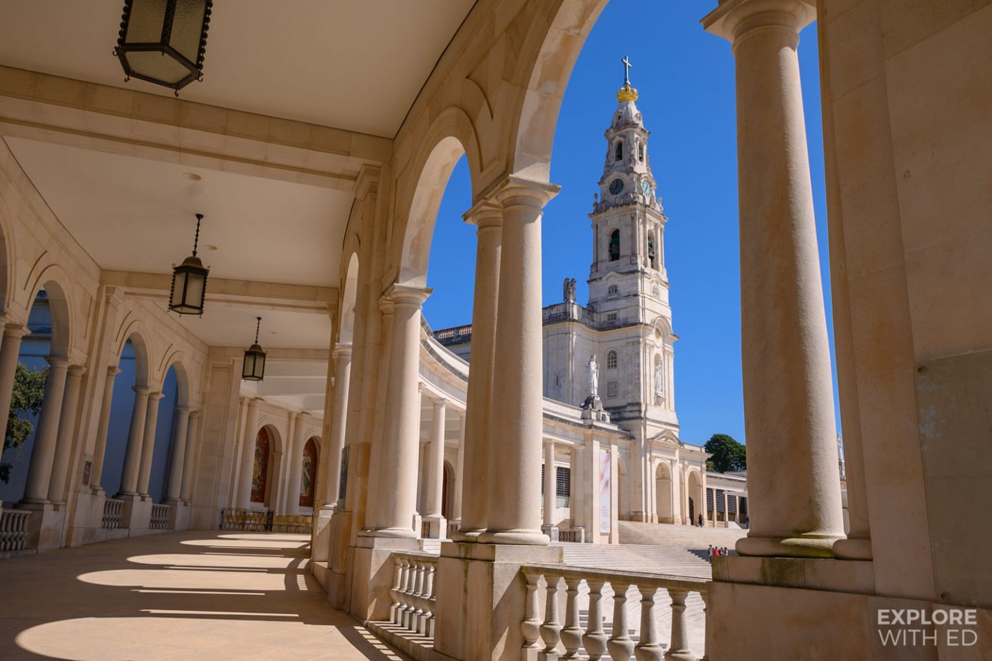 Beautiful arch columns leading to the Basilica of Our Lady of the Rosary