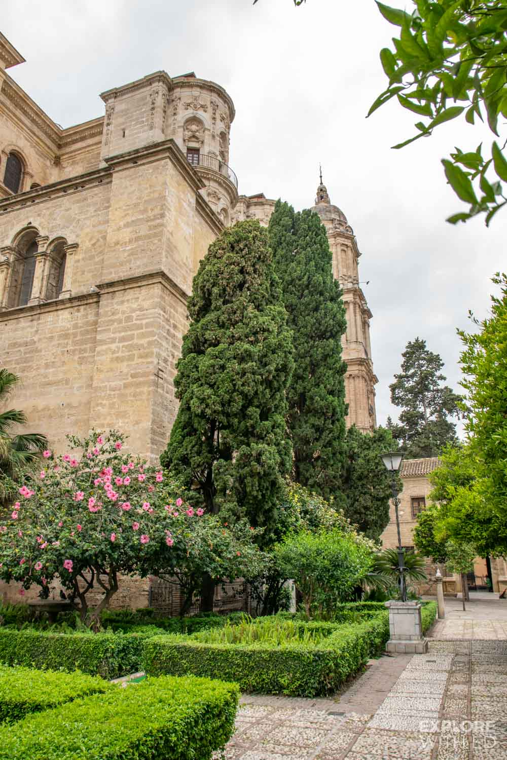 The gardens and exterior of Malaga Cathedral