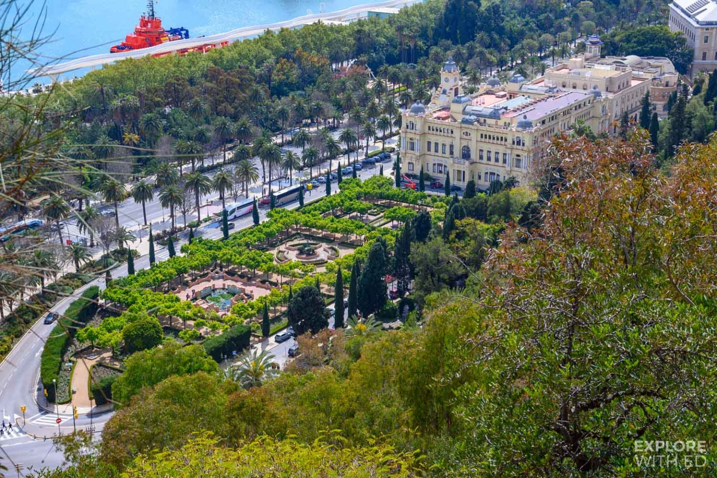 View of the gardens of Pedro Luis Alonso and town hall in Malaga