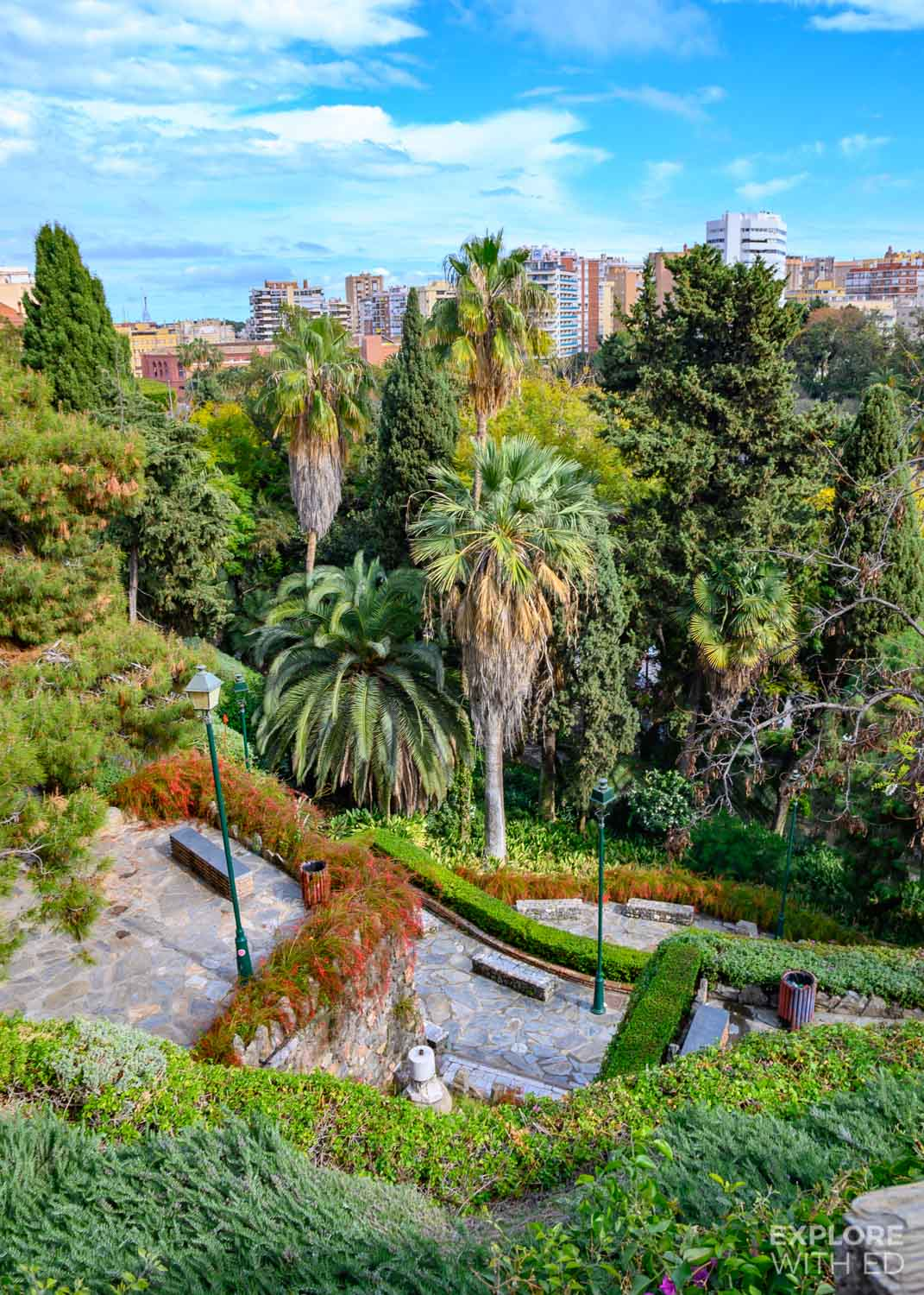Parks and gardens of Malaga leading up to Gibralfaro