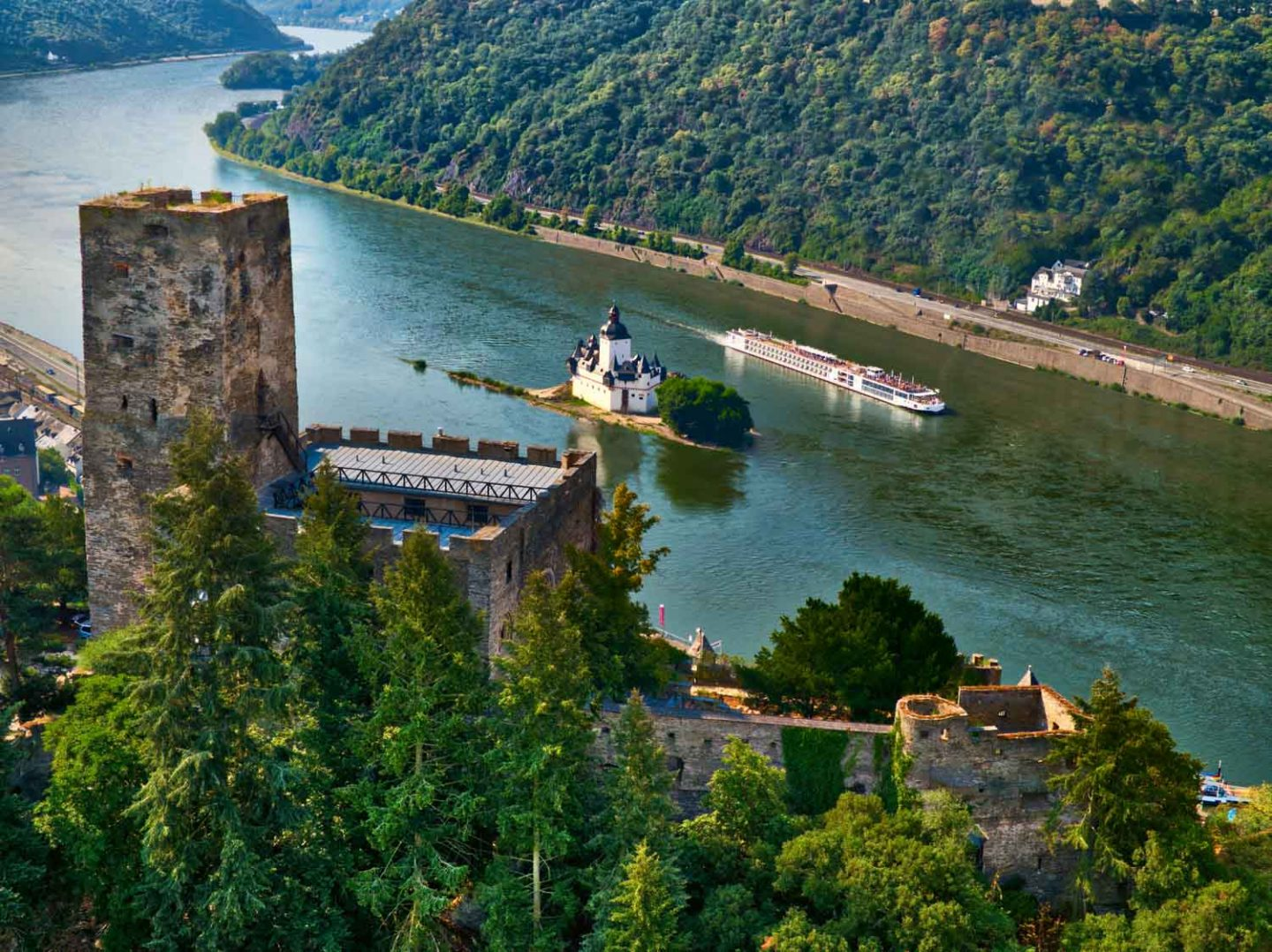 Middle Rhine Castles with a Viking Longship