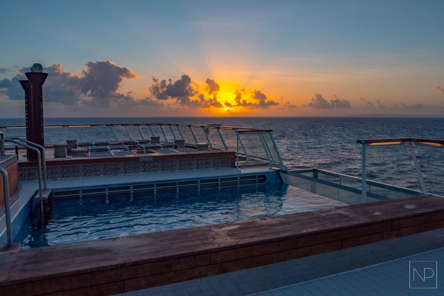 Infinity pool on the aft Viking Sea cruise ship [AD]