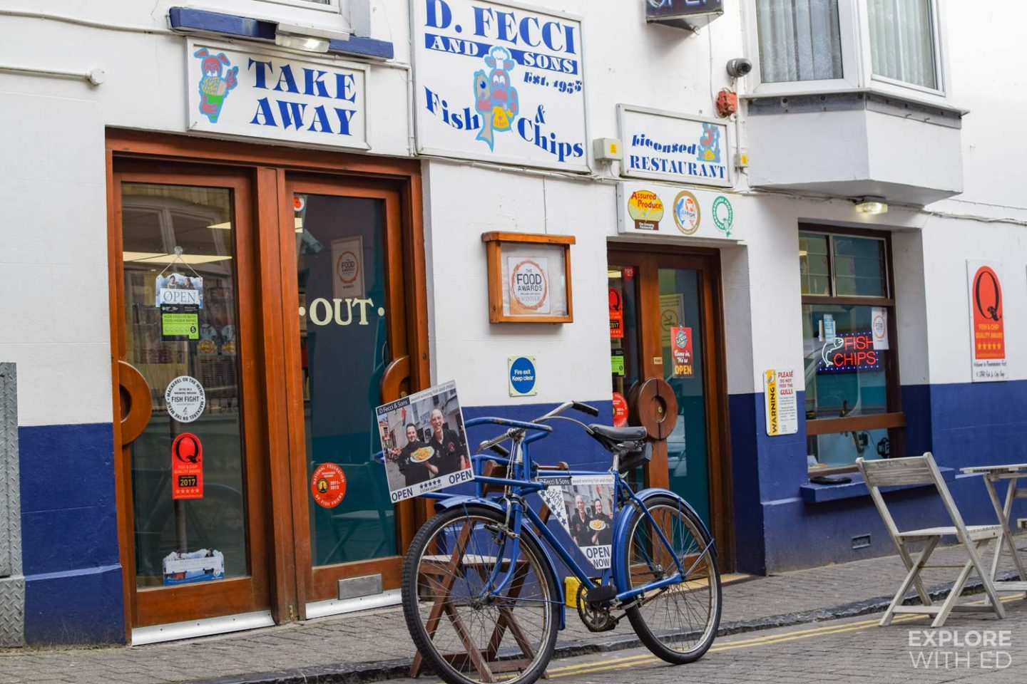 D. Fecci and Sons fish and chip shop in Tenby, Wales