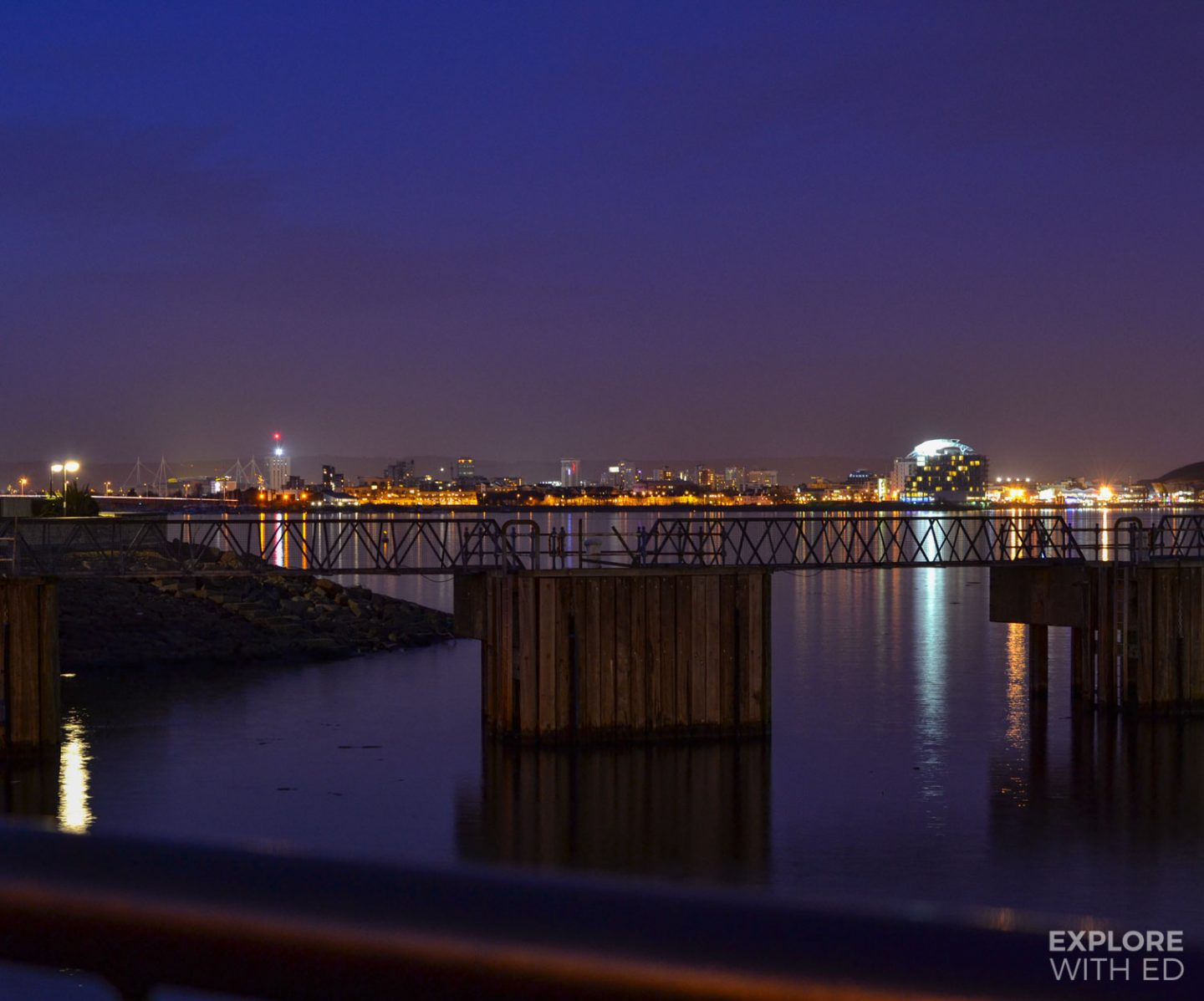 Cardiff bay from the barrage at night