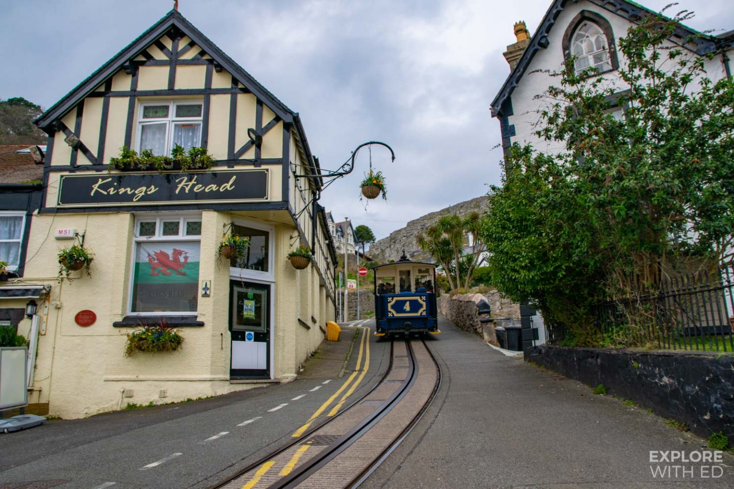 The Great Orme Tramway and Kings Head pub in Llandudno, Wales