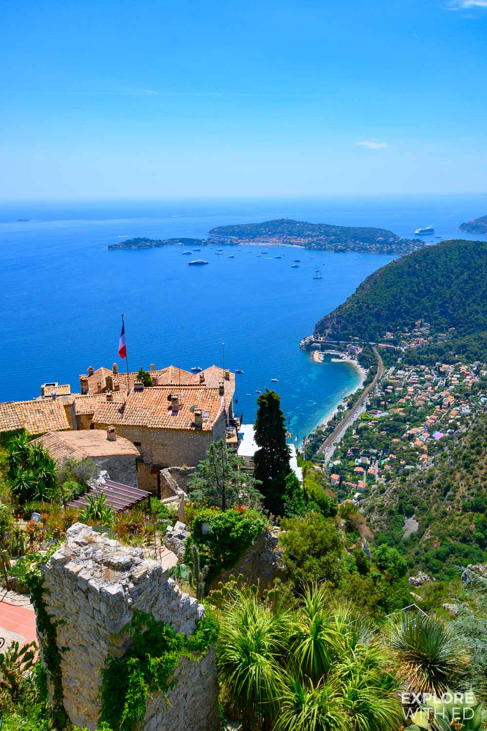 The stunning view from the exotic garden at Eze over the Cote D'Azur, France