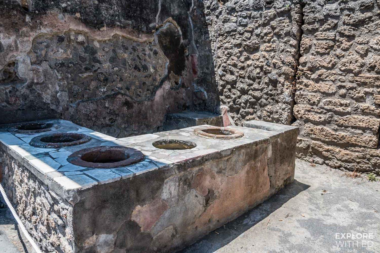 Ruins along the Via dell'Abbondanza in Pompeii