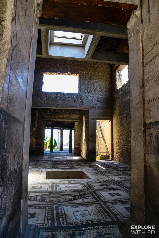 Inside the ruins of Pompeii, tiled floors