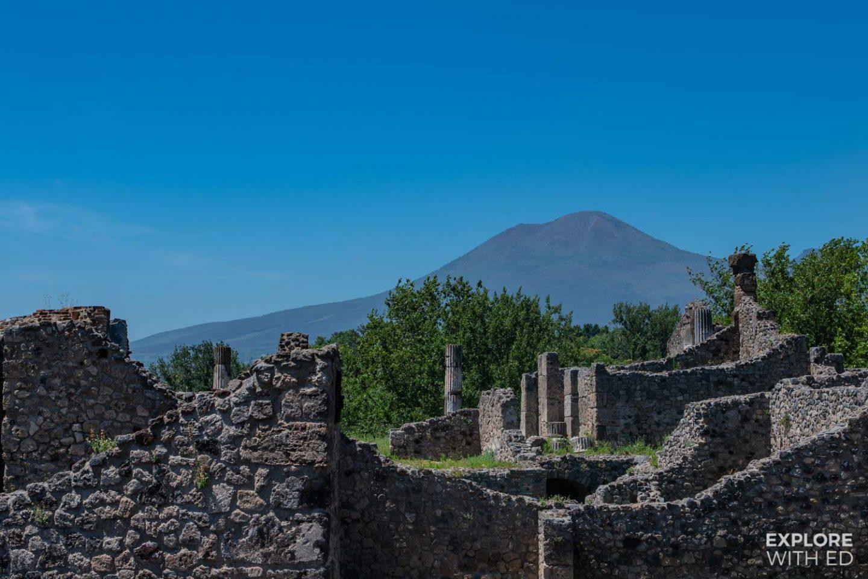 Mount Vesuvius and the ruins of Pompeii