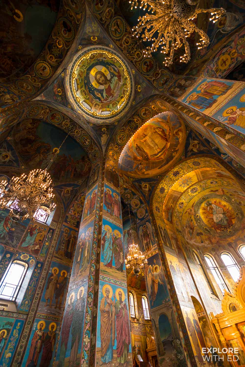 Inside mosaics of The Church of our Savoir on Spilled Blood, St Petersburg