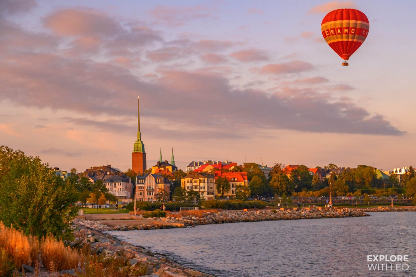 Hot air balloon over Helsinki, Finland