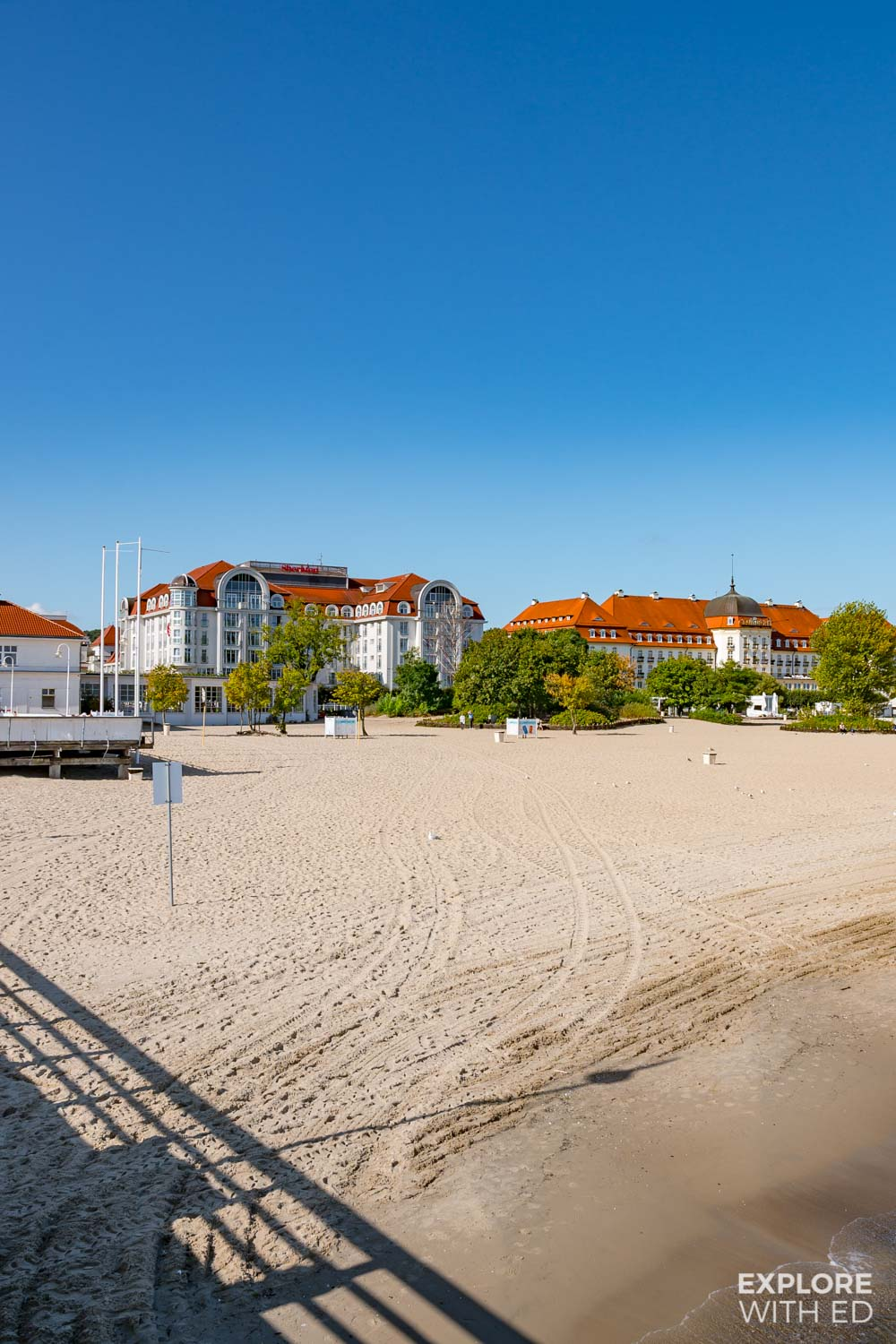 The Sheraton and Sofitel Grand Sopot Hotel on the beach