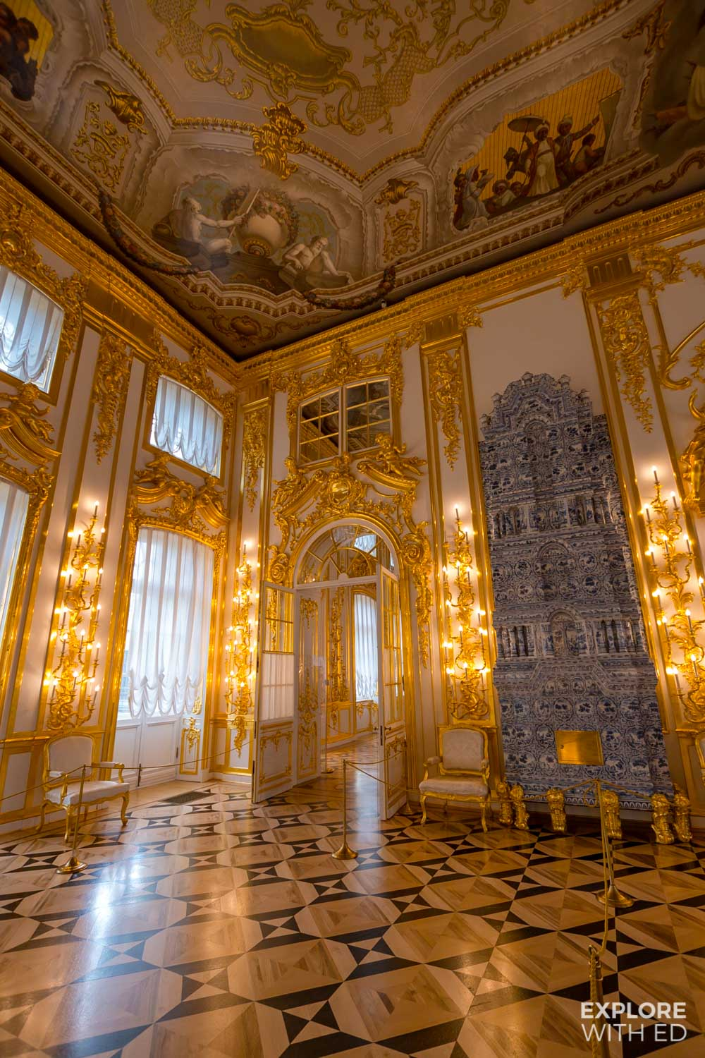 Grand Dining Room and Fireplace in Catherine Palace, Russia