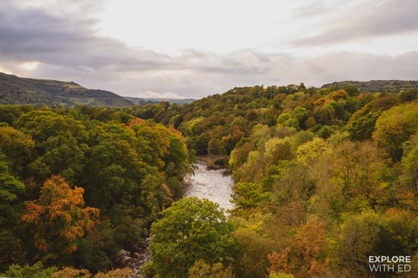 Autumnal views of the river from Pontcysyllte aqueduct, Wales