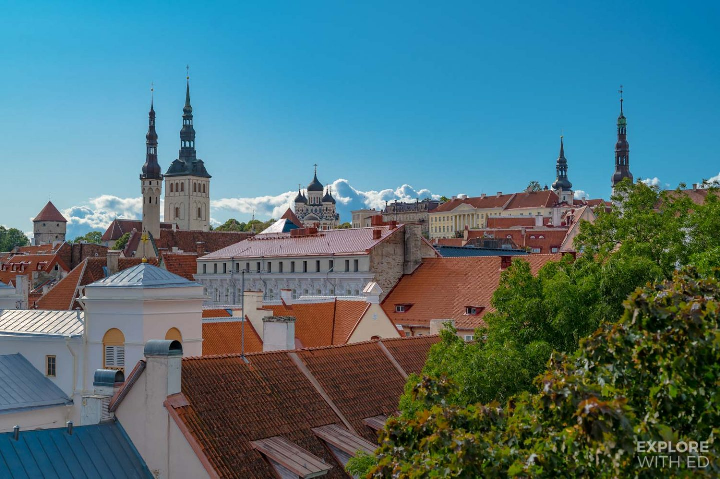 Rooftop view of Tallinn's spires from the Hellemann Tower