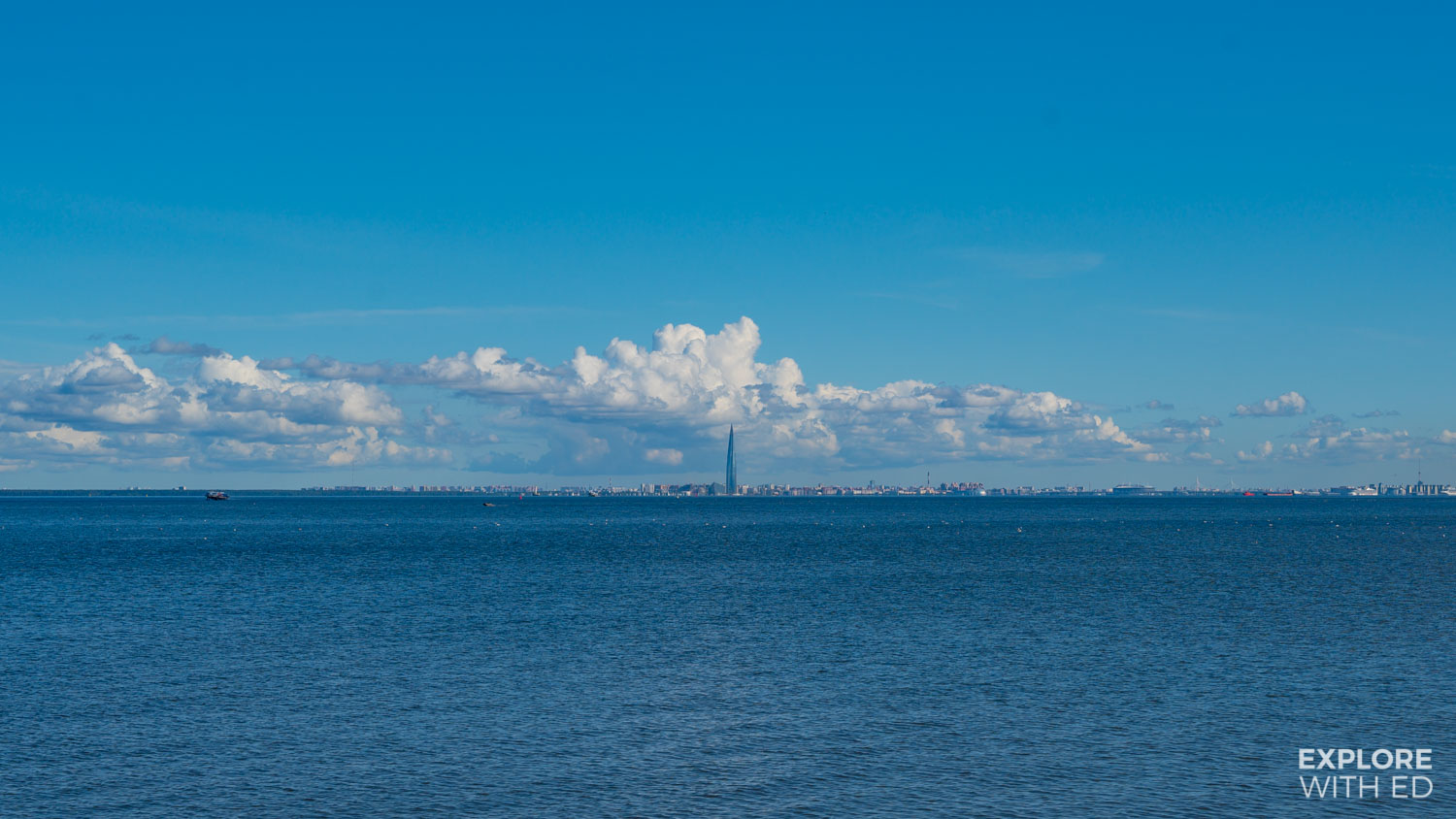 View of Lakhta Center from Peterhof, Gulf of Finland