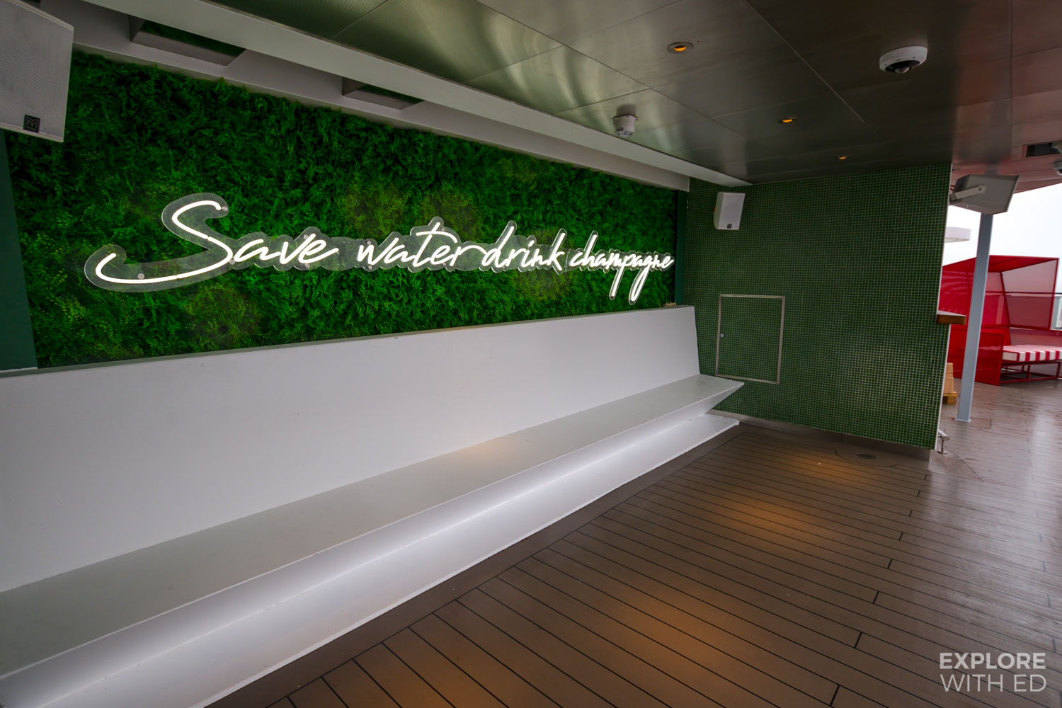 Save water drink champagne neon sign Scarlet Lady