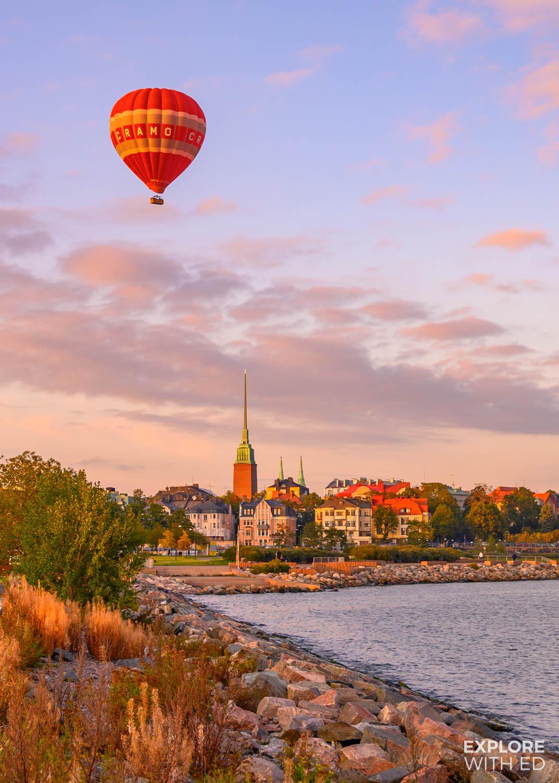 Hot air balloon ride over Helsinki, Finland
