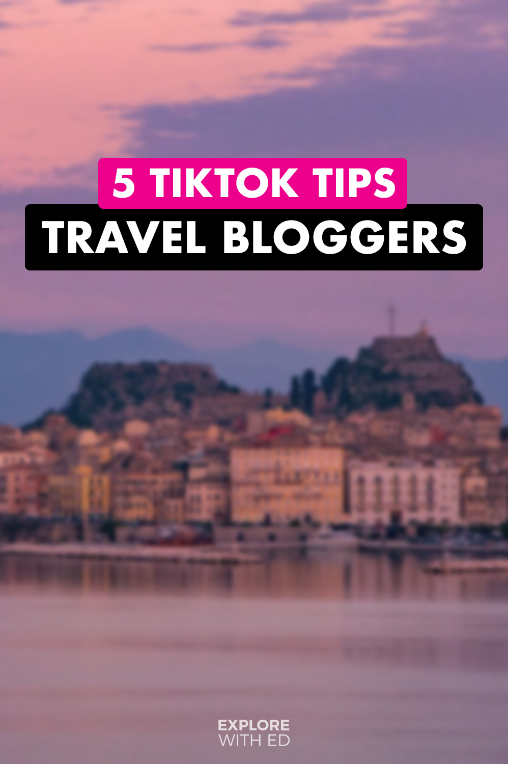 TikTok tips for travel bloggers (background Corfu, Greece)
