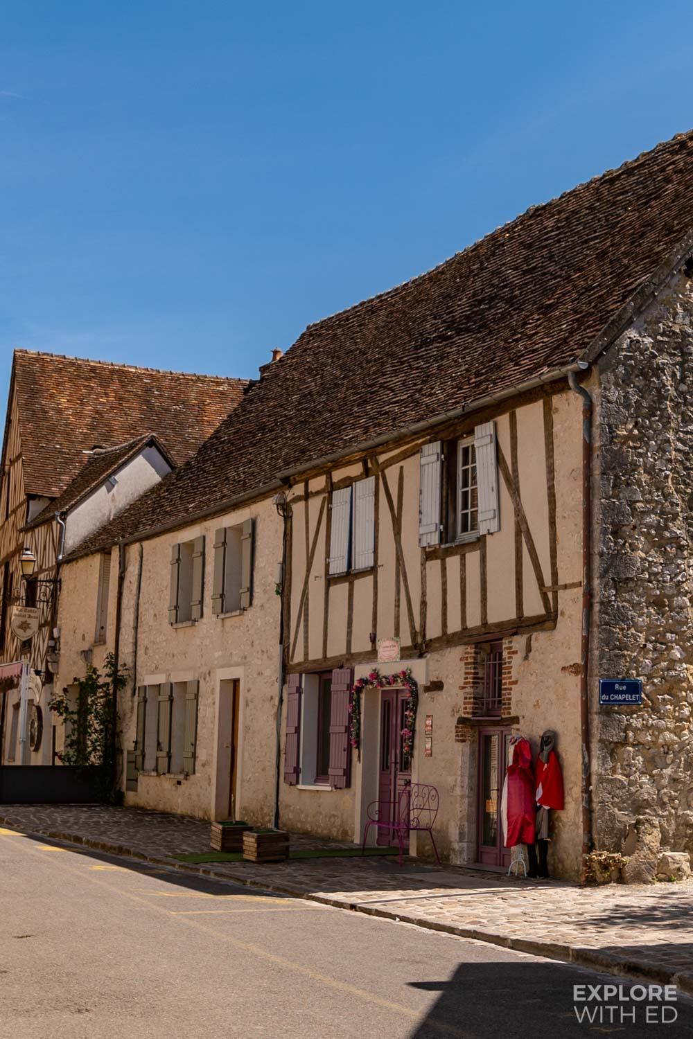 Charming row of shops in Provins