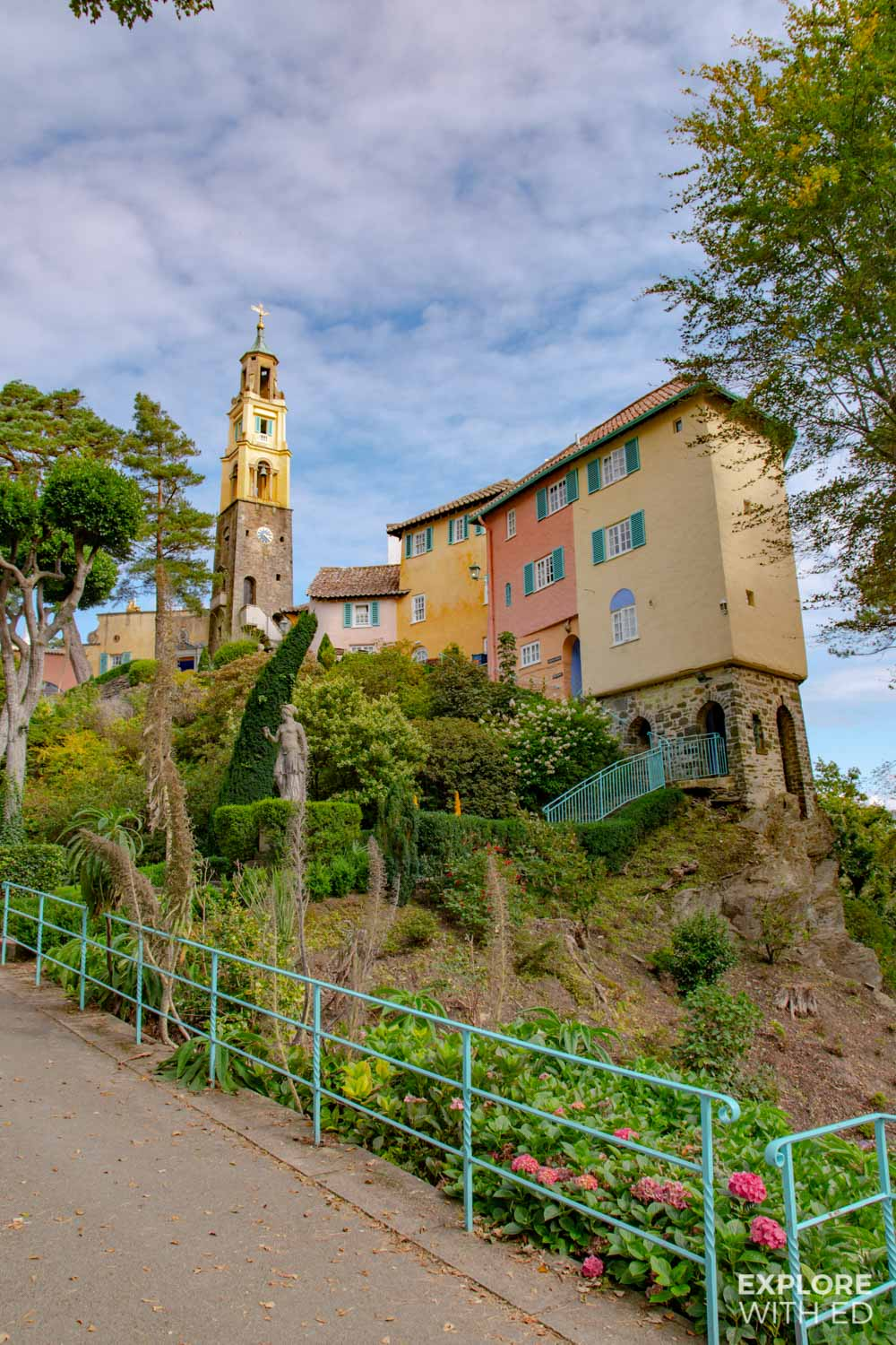 The Italian architecture in Portmeirion Village, Wales