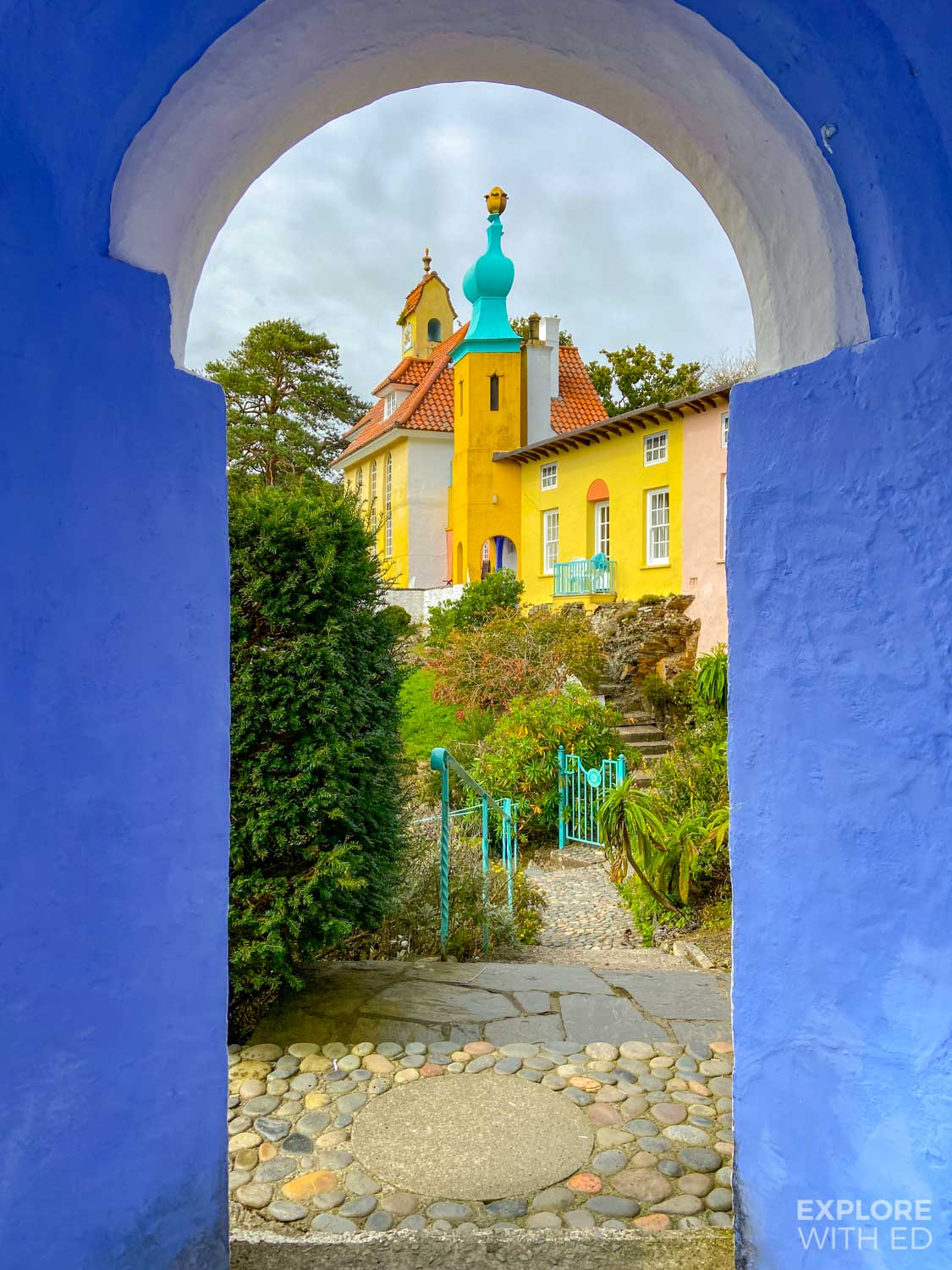 Pretty village of Portmeirion in North Wales